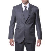 dc59df784d9 Zonettie by Ferrecci Men s Slim Fit Grey and Blue Plaid Double-breasted 3- piece. Sale