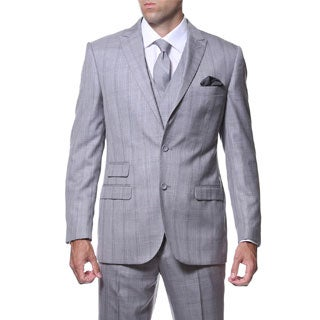 Zonettie by Ferrecci Men's Slim Fit Grey and Silver Plaid Double-breasted 3-piece Vested Suit