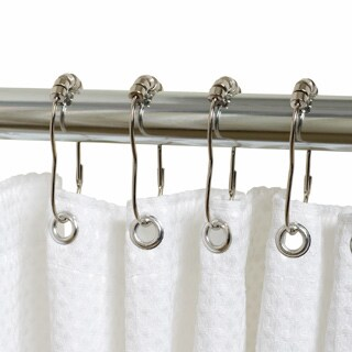 Hotel Quality White Fabric Shower Curtain Liner and Hook Set