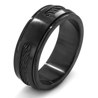 Crucible Black on Black Dual Finish Stainless Steel Rope Inlay Grooved Domed Ring - 8mm Wide
