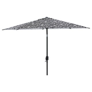 Pillow Perfect Black/ White Damask 9-foot Patio Umbrella