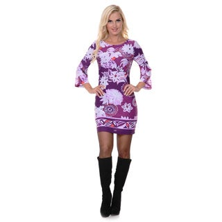 White Mark Women's Purple and Ivory Printed Bell-sleeve Dress