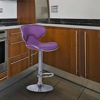 Adeco Purple Cushioned Leatherette Adjustable Saddleback Barstool Chair with Chrome Finished Pedestal Base (Set of 2)