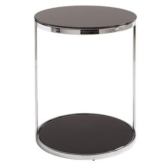 Sunpan Dakota Black Tempered Glass End Table