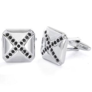 Men's Stainless Steel Black Cubic Zirconia Cuff Links