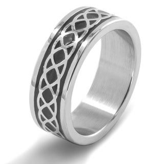 Men's Stainless Steel Braided Celtic Knot Ring - White