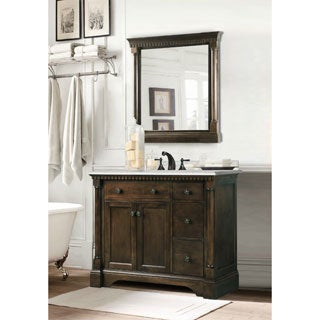carrara marble top 36inch vanity in coffee bean white finish with matching wall