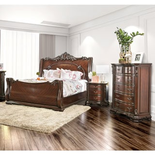 Furniture of America Luxury Brown Cherry 3-Piece Baroque Style Bedroom Set