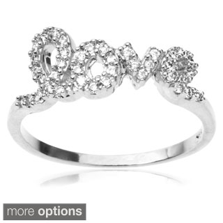 Journee Collection Sterling Silver Cubic Zirconia 'Love' Ring