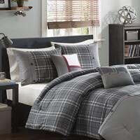 Intelligent Design Campbell Grey Plaid 5-Piece Comforter Set