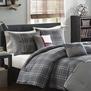 Intelligent Design Campbell Grey Plaid 5-Piece Comforter Set