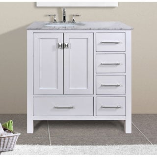 vinnova gela 36 inch white single vanity with carrera white marble top