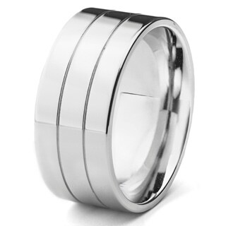 Stainless Steel Men's High Polish Double Grooved Ring