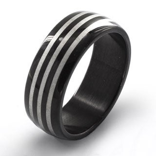 Stainless Steel Men's Black Plated Etched Triple Striped Ring