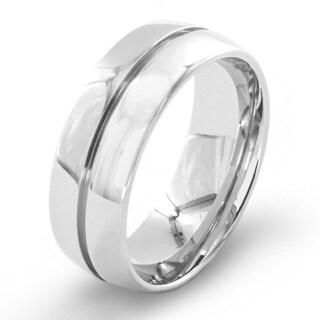 Men's High Polish Single Groove Stainless Steel Ring