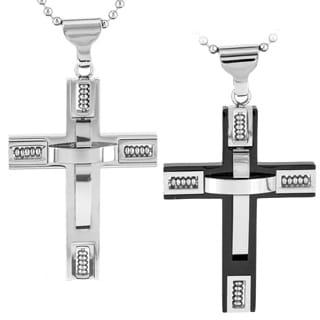 Stainless Steel Men's 3D Beaded Cross Pendant Necklace