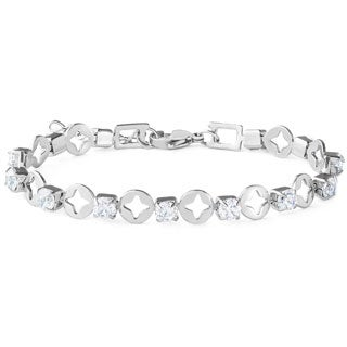 ELYA Stainless Steel and Cubic Zirconia Tennis-style Link Bracelet