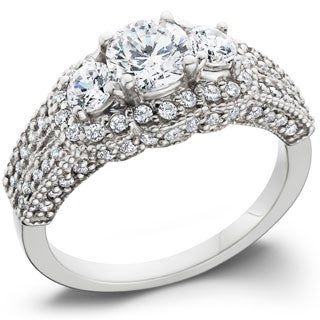 14k White Gold 2 1/4ct TDW Pave-set Diamond Ring
