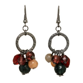 Hematite-tone Multi-colored Beaded Dangle Earrings