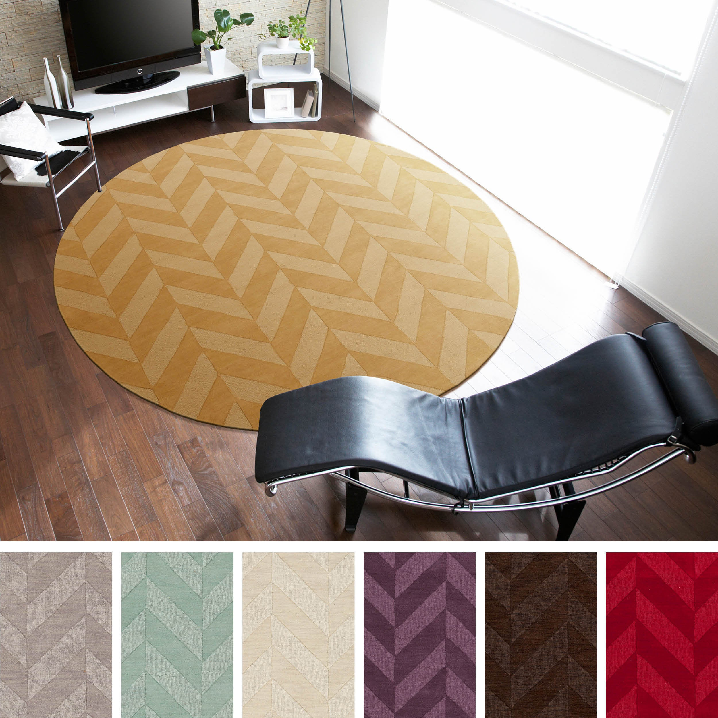 Hand-Woven Ann Tone-on-Tone Zig-Zag Wool Rug (7'9 Round)