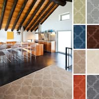 Hand-Woven Amy Tone-on-Tone Lattice Wool Area Rug - 2' x 3'