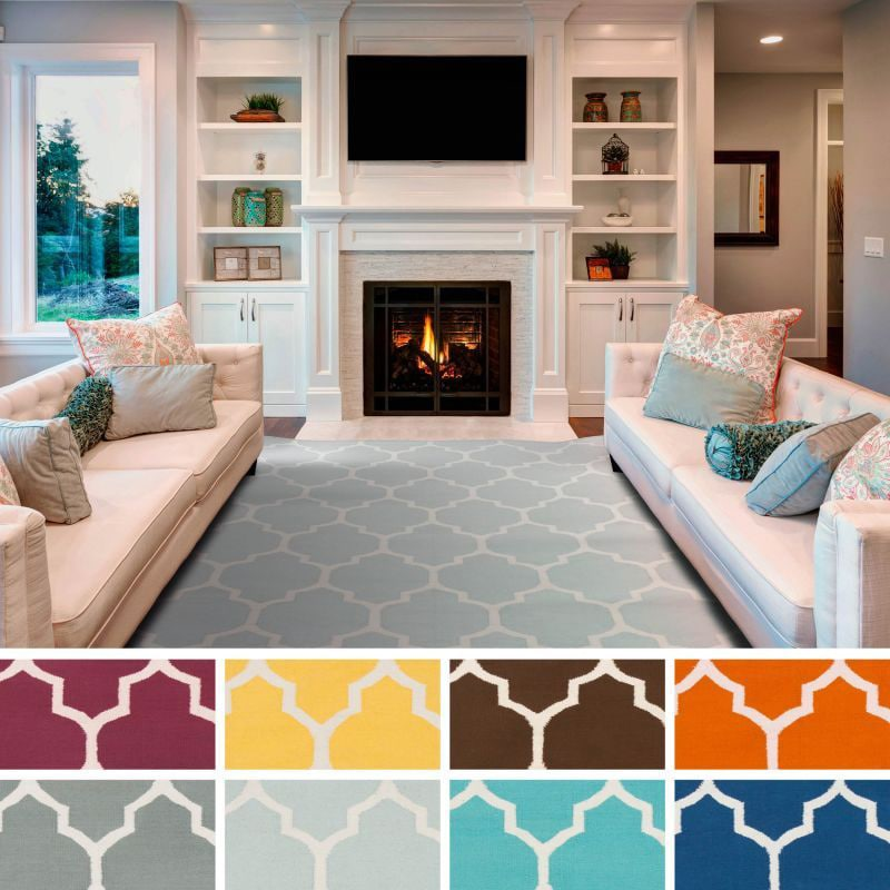 Hand-Woven Nicole Lattice Cotton Rug (8' x 10')