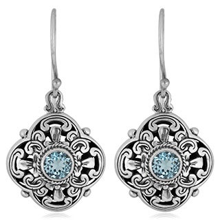 Handmade Sterling Silver Blue Topaz Floral Dangle Earrings (Indonesia)