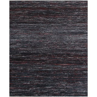 ABC Accents Handmade Textured Sari Silk Black Wool Area Rug (8' x 10')