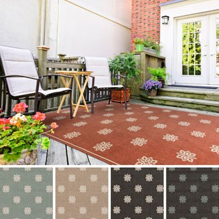 Jenna Contemporary Floral Indoor/Outdoor Area Rug (6' x 9') - 6' x 9'