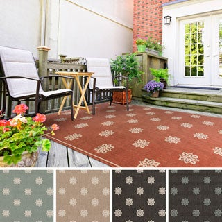 Meticulously Woven Jenna Contemporary Floral Indoor/Outdoor Area Rug (5'3 x 7'6)