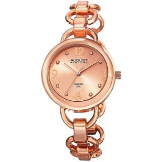 August Steiner Ladies Diamond Accented Dial Swiss Quartz Chain-Link Rose-Tone Bracelet Watch