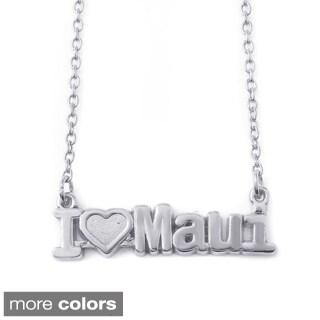 Sterling Silver 'I Love Maui' Pendant Necklace