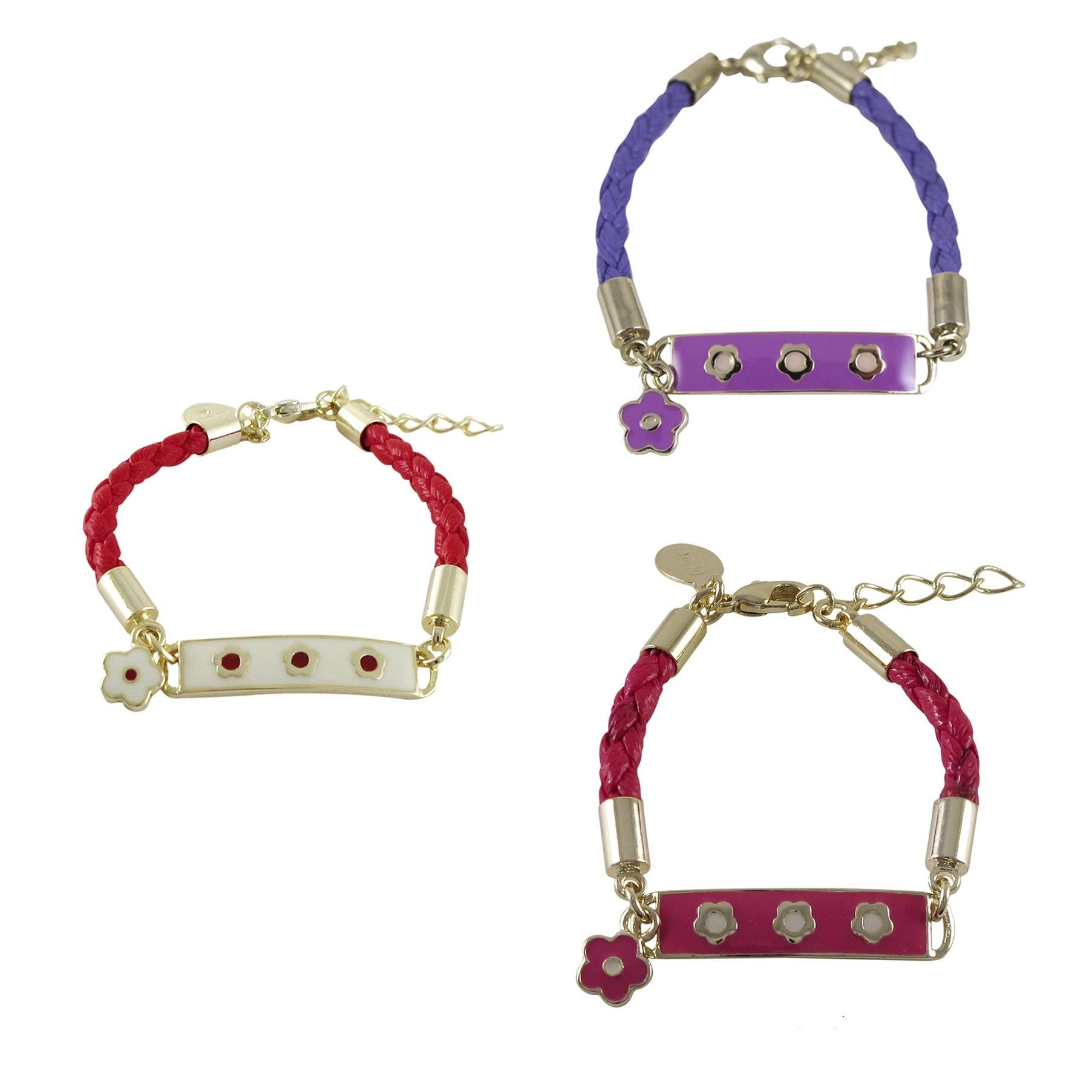 Luxiro Goldplated Girls Enameled Flower Charm ID Leather Rope Bracelet|https://ak1.ostkcdn.com/images/products/P16434525A.jpg?impolicy=medium