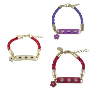 Luxiro Goldplated Girls Enameled Flower Charm ID Leather Rope Bracelet