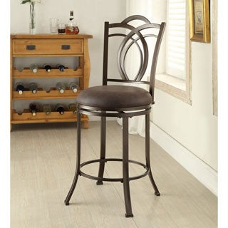 Linon Khalifah Metal Swivel Counter Stool with Coffee Brown Seat
