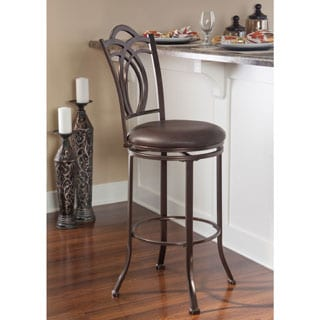 Linon Khalifah Metal Swivel Bar Stool with Coffee Brown Seat