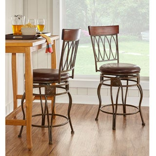 Linon Bronze Counter Stool, Elliptical Back Design
