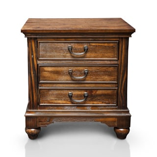 Furniture of America Locklore Antique Dark Oak Nightstand