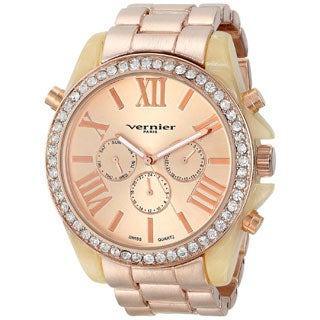Vernier Paris Women's Swiss Multi-function Boyfriend Size Matte Finsh Bone Enamel Bezel Watch