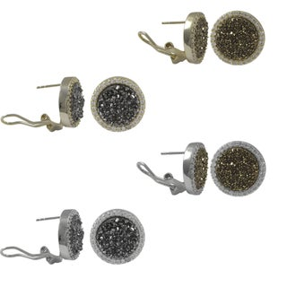 Luxiro Sterling Silver Druzy Quartz and Cubic Zirconia Circle Stud Earrings