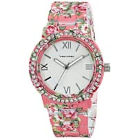 Vernier Women's All Over Floral Pattern Stone Bezel Watch