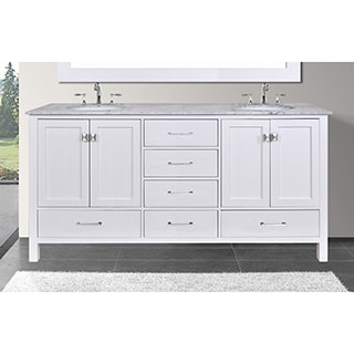 Malibu 60-inch Carrara Marble Top Pure White Double Sink Bathroom Vanity