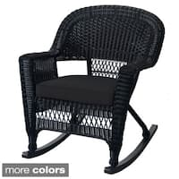 Black Rocker Wicker Chair with Cushions (Set of 2)