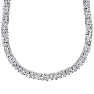 Finesque Silverplated 1/4ct TDW Diamond Necklace with Red Bow Gift Box