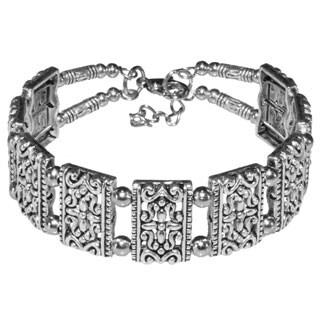 Tibetan Silver Ornate Bangle Bracelet (China)