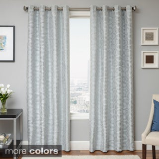 Payton Wave Woven Grommet Top Curtain Panel