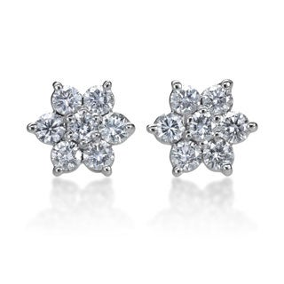 SummerRose 14k White Gold 1ct TDW Diamond Flower Stud Earrings
