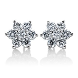 SummerRose 14k White Gold 2ct TDW Diamond Flower Stud Earrings (G-H, SI1-SI2)