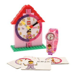 LEGO Pink Time Teacher Kid's Minifigure Interchangeable Links Watch and Clock