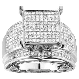 10K Gold 3/4 CT TDW Large White Diamond Ring